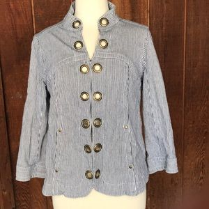 Navy and White Striped Ticking Jacket